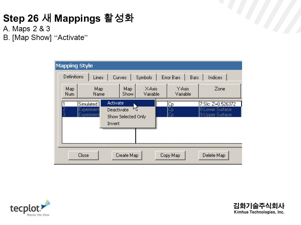 Step 26 새 Mappings 활성화 A. Maps 2 & 3 B. [Map Show] Activate
